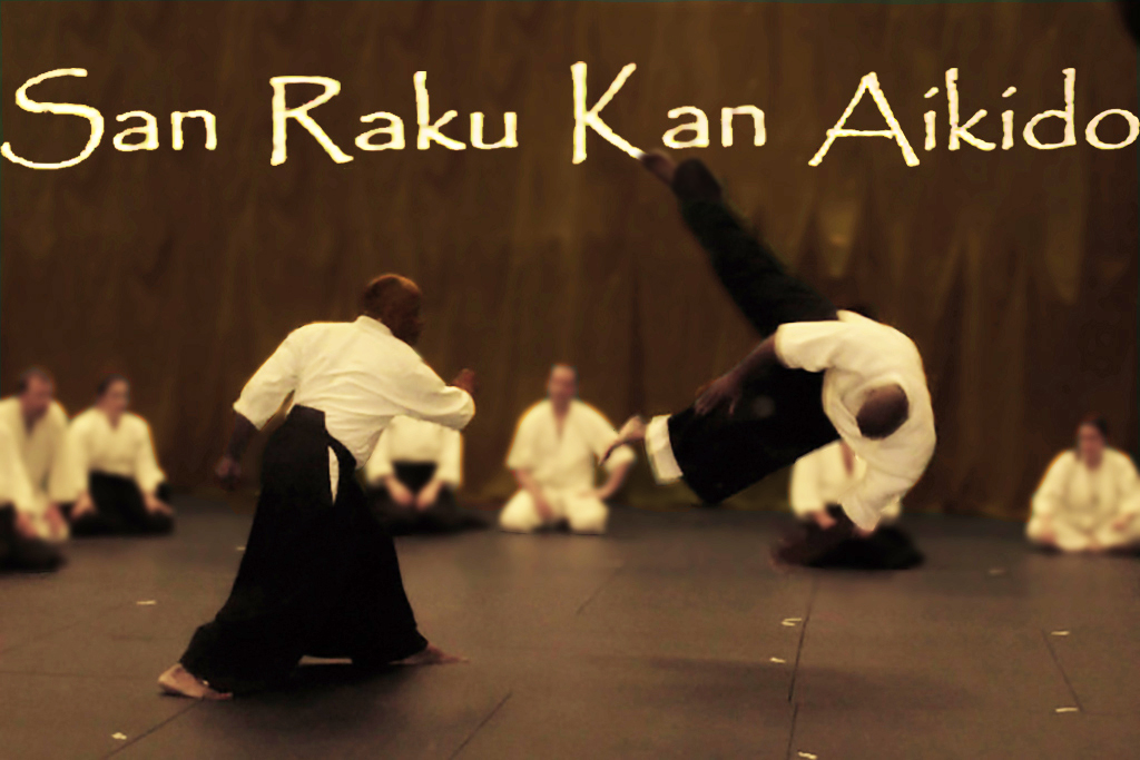 San Raku Kan Aikido Banner Sensei throwing another sensei across the mat Students Kneel background